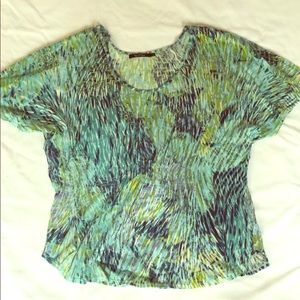 NIC+ZOE Flutter Sleeve Gathered Top Large